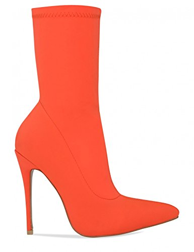 LAMODA Womens Stiletto Stretch Sock Ankle Boots Orange uyvprYz
