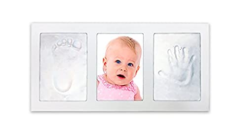 Decor Hut Baby keepsakes photo frame with 2 packs of clay to imprint hand and foot, White 3.5 by 5 photo (Imprint Baby)