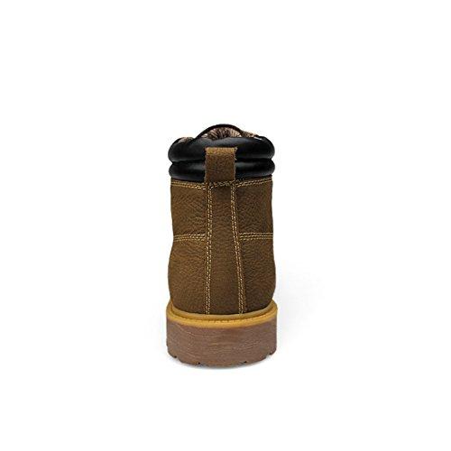 Minitoo Boys Mens Cap-Toe Padded Fashion Lace-Up Ankle Boots Khaki