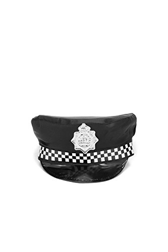 Adult Police Cap Halloween Accessory Policeman Bobby Cop Dress Up & Role Play (One size fits most, black, (Policeman Costumes)