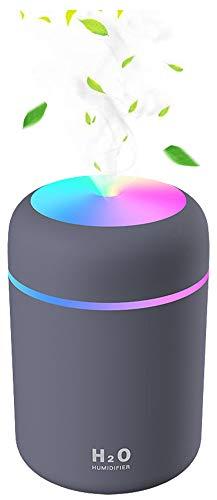 Baeskii Portable Mini Humidifier, 300ml USB Personal Desktop Humidifier with 7-Color LED Night Light, Auto-Off, Ultra…