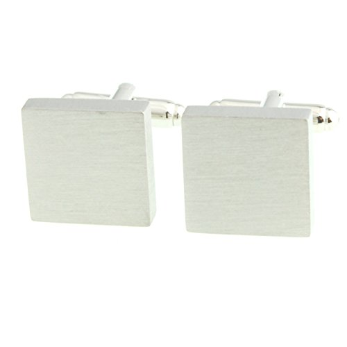 Smart Man Men's Silver Brushed Square Cufflinks