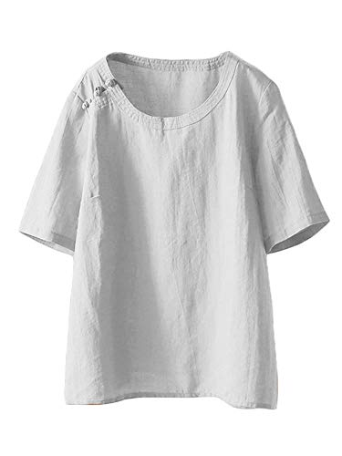 LaovanIn Women's Summer Linen Tunic Tops Casual Plus Size T-Shirt Blouse Large White