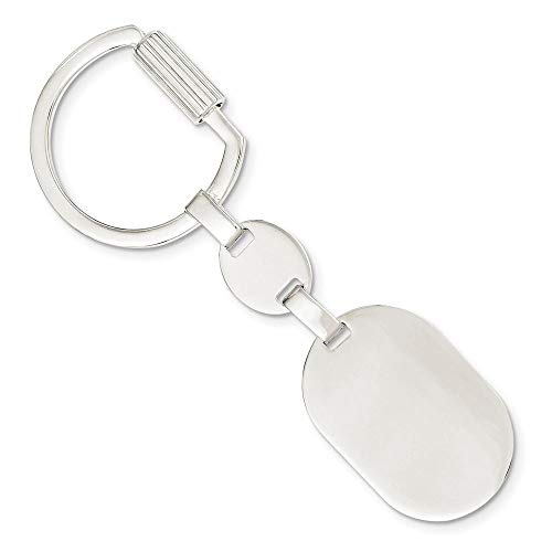 Sterling Silver Engravable Oval Key Ring