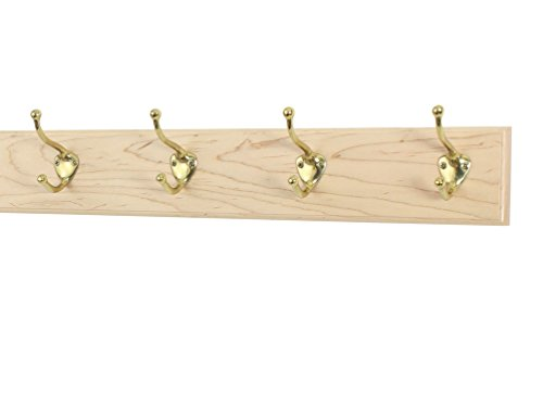Maple Coat Rack with Solid Brass Hat and Coat Style Hooks (Natural, 20