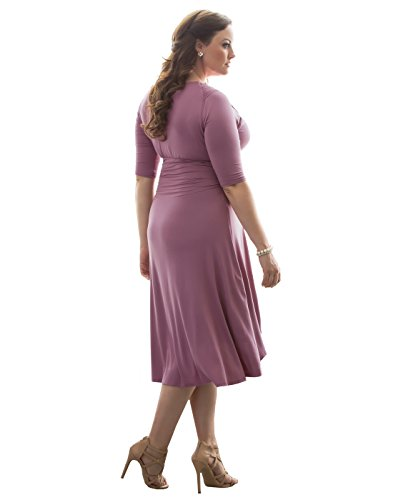 Kiyonna Women's Plus Size Refined Ruched Dress 1X Vintage Rose by Kiyonna Clothing (Image #1)