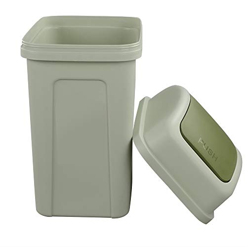 Nicesh 2.6 Gallon Trash Can with Swing Lid, 10 L Plastic Swing Top Trash Can (Green) - Open Top Green Waste Receptacle
