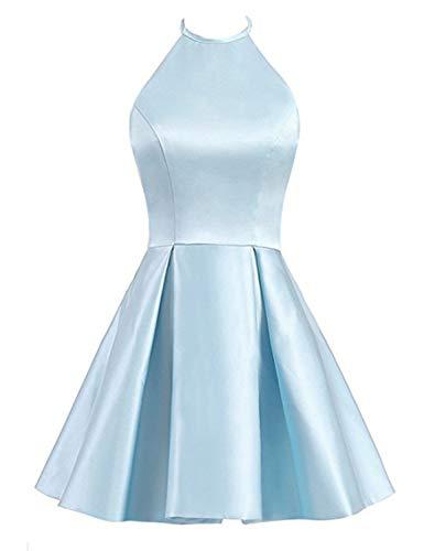 BessWedding Gown Homecoming Evening BHZS21 Satin 2019 Short Light Formal Dresses Women's Halter Blue 1z1rH