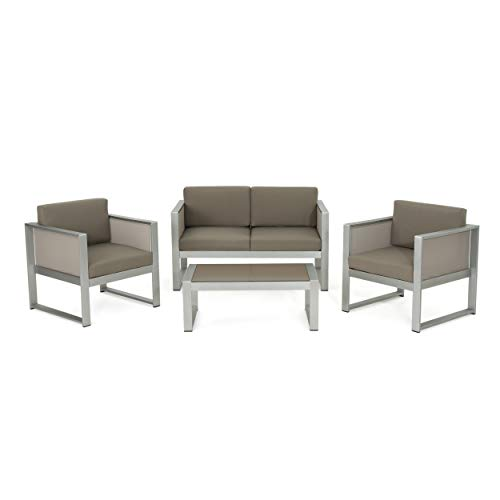 Great Deal Furniture Felix Island Outdoor 4 Seater Grey Mesh Chat Set with Silver Rust-Proof Aluminum Frame and Khaki Water Resistant ()