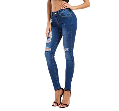 Stretch Jeggings Bolsillos Agujeros Botón Jeans De Las Mezclilla Delanteros Rasgados Estirar Ajustados Cintura Pantalones Lápiz Alta Huixin Mujeres Oscuro Azul xqBRO8Yw