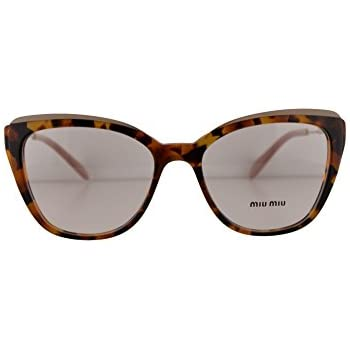 5766a1c639 Amazon.com  Miu Miu MU02QV Eyeglasses 53-17-140 Havana w Demo Clear ...