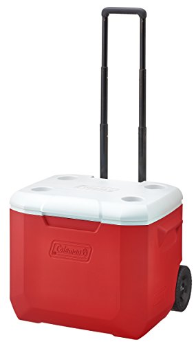 Coleman Camping 60 Quart Wheeled Cooler, Red