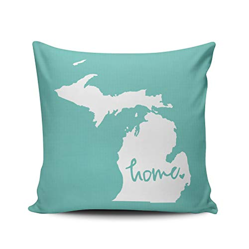- ONGING Decorative Throw Pillow Case Aqua Mint and White Home Michigan Pillowcase Cushion Cover Double Sided Design Printed Square Size 18 x 18 Inch