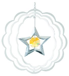 - Star In Scalloped Circle Ornament. With Yellow Swarovski Austrian Crystals