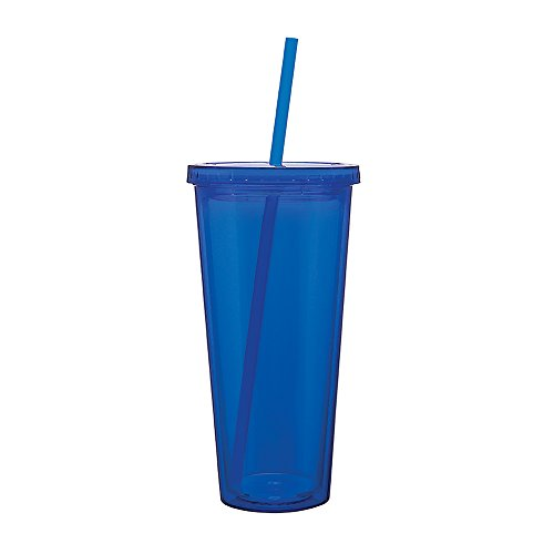 Double Wall Acrylic Tumbler - Eco To Go Cold Drink Tumbler - Double Wall -20oz. Capacity - Blue