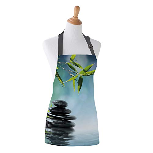 Family Decor Kids Bib Apron, Stain Resistant Kitchen, Classroom, Crafts and Art Painting Aprons for Children Boys Girls, Spa Zen Garden Flower and Bamboos