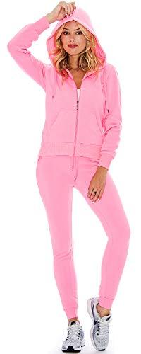 Ladies 2 Piece Fleece Hoody Sweatsuit Set Order 2 Sizes Up (Bright Pink, Large)