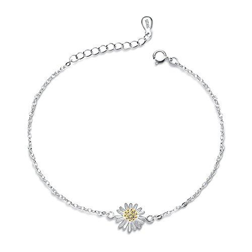 S925 Silver Plated Gold Daisy Sunflower Women Adjustable Bracelet,7.9'' lobster clasp Daisy Gold Bracelets
