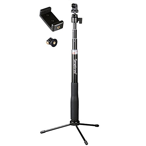 Smatree SmaPole Q3 Telescoping Selfie Stick with Tripod Stand for GoPro Hero 5/4/3+/3/2/1/Session Cameras, Ricoh Theta S, M15 Cameras, Compact Cameras and Cell Phones