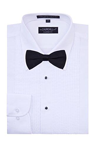 S.H. Churchill & Co. Men's Tuxedo Shirt with Black Bow Tie - Laydown Collar - Medium 32/33 Laydown Collar Formal Tuxedo Shirt