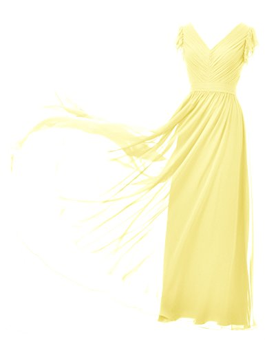 Bridesmaid Neck Evening Prom V Gown Ball Dress Dress Yellow Sleeveless Long Party Alicepub wZ1xq4t4