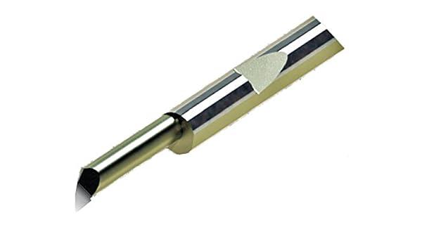 Maximum Bore Depth 0.200 0.1875 0.060 3 Shank Diameter Micro 100 QPF-060200 Quick Change Boring and Profiling Tool 5.1 mm Solid Carbide Tool 0.005 4.8 mm 0.13 mm 1.27 mm Projection 1.52 mm 0.050 Minimum Bore Diameter 1.5 Tool Radius
