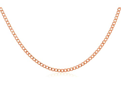 (14K Yellow Gold 2.0mm Cuban/Curb Link Chain Necklace- Made in Italy-16-30 (Rose, 18))