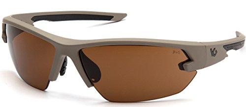 Venture Gear Tactical Semtex 2.0 Safety Shooting Glasses, Tan Frame, Bronze Anti-Fog Lens