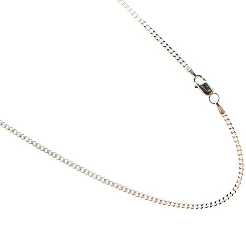 2mm Curb Sterling Silver Chain. Pure 925 Italian Necklace. 16,18,20,22,24,30 inches available (24 (Italian Sterling Silver Curb)