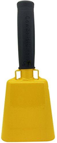 8.6 inch Golden Yellow Bell Black Handle Cowbell with Stick Grip Handle Used for Cheering at Sporting Events - Cow Bell by Stewart TradingTM (Hawkeye Handheld)