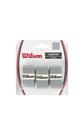 Wilson Tennis Racquet Pro Over Grip, Silver, Pack of 3