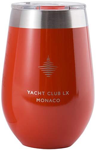 Yacht Club LX 12 oz Insulated Stemless Wine Glass Tumbler - Monaco Red