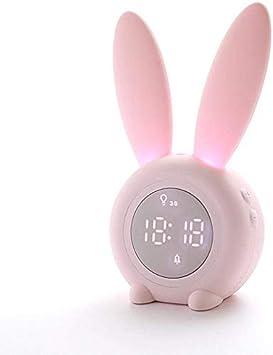 Premewish Sveglia Coniglio Regalo per Bambini Studenti Adulti Funzione Conto alla Rovescia 6 Musica Interessante Simpatico Coniglietto Animale Orologio da Comodino con Lampada Luce Notturna