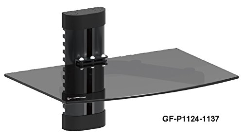 GForce GF-P1124-1137 Wall Mount Shelf For Media Players with Tempered Glass- Holds up to 22 lbs