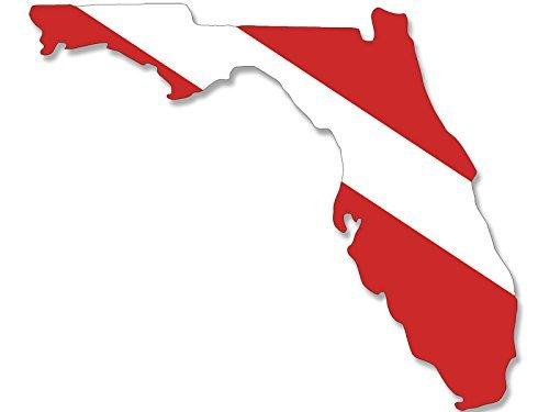 Cutter Scuba (MAGNET Florida Shaped Scuba Dive Flag Magnetic Sticker (diving florida decal))