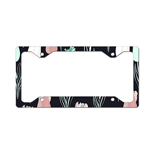 Custom License Plate Frame Black with Tulip Seamless Pattern Aluminum Cute Car Accessories Narrow Top Design Only Set of 2