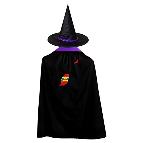 Grenada Continent Shape Flag Witch Wizard Cloak Cape With Hat Halloween Costumes For Girls Boys