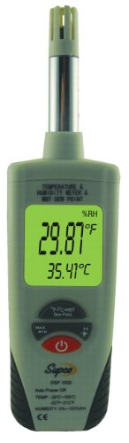 Supco DSP1000 Digital Psychrometer with Dew Point and Wet Bulb, -22 to 212 Degree F, +/- 0.9 Degree F Accuracy by Supco