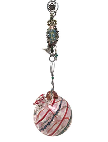 Blown Glass Hummingbird Feeder with Hummingbird Charm and Gemstones on a Handcrafted Chain, Feeder Steampunk Garden