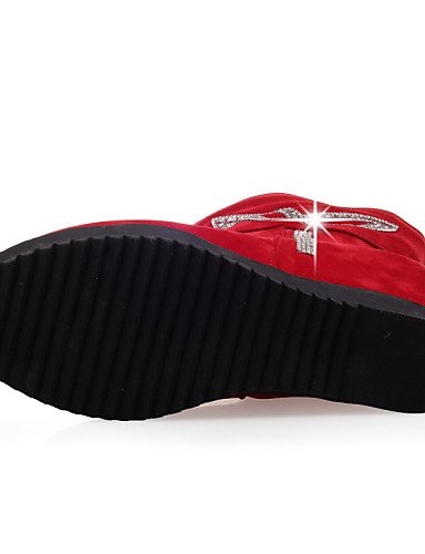 Rojo Moda Mujer Zapatos Cuñas Punta Casual Cn39 Red De Botas Redonda Uk6 A Eu39 Negro Black Eu36 Uk4 Cn36 Vestido us8 us6 Vellón Tacón Cuña La Xzz aqdwEPw