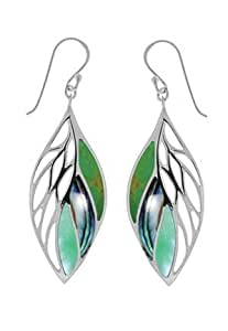 Boma Sterling Silver Green Turquoise, Abalone, Green Mother-of-Pearl Leaf Earrings