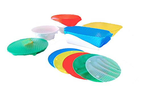 One Size Fits ALL Super Lid! Adapts to ANY container in all shapes and sizes, big and small! No more lost or leaky lids!