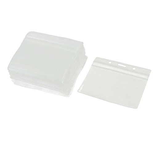 uxcell Plastic Waterproof Horizontal ID Card Holder Name Badge Case 50pcs