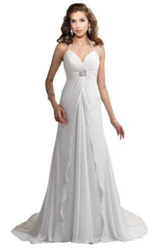 Lemandy Robe de mariée empire mousseline perles