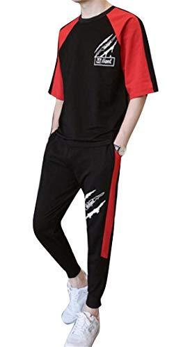 Jotebriyo Mens Crew Neck Summer Hip Hop Shorts Vogue Two Piece Suit Outfits Short Sleeve Tracksuit Black XL