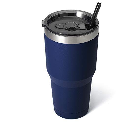 Zibtes 30oz Insulated Tumbler With Lids and Straws, Stainless Steel Double Vacuum Coffee Tumbler Cup, Powder Coated Travel Mug for Home, Office, Travel, Party (Navy, 1 pack)
