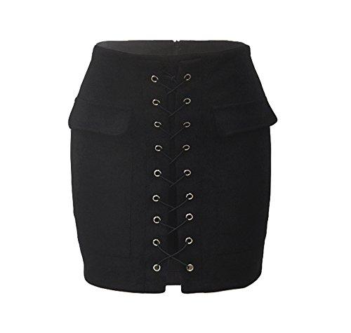 moda moda e Gonne collo cinturino Gonna con da a ed primavera alla vita Nero alla donna estate alta wwvqO
