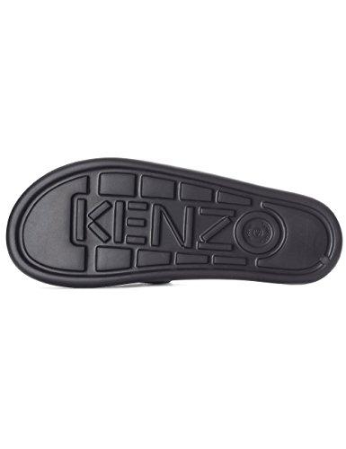 Kenzo Men's Black Rubber Slipper with Tiger Graphics Black m5pthQtJ