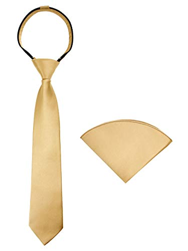 - Spring Notion Boys' Satin Zipper Necktie and Handkerchief Set Large Antique Gold