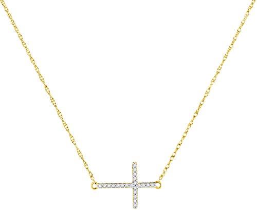 - Roy Rose Jewelry 10K Yellow Gold Womens Round Diamond Sideways Horizontal Cross Pendant Necklace 1/20-Carat tw